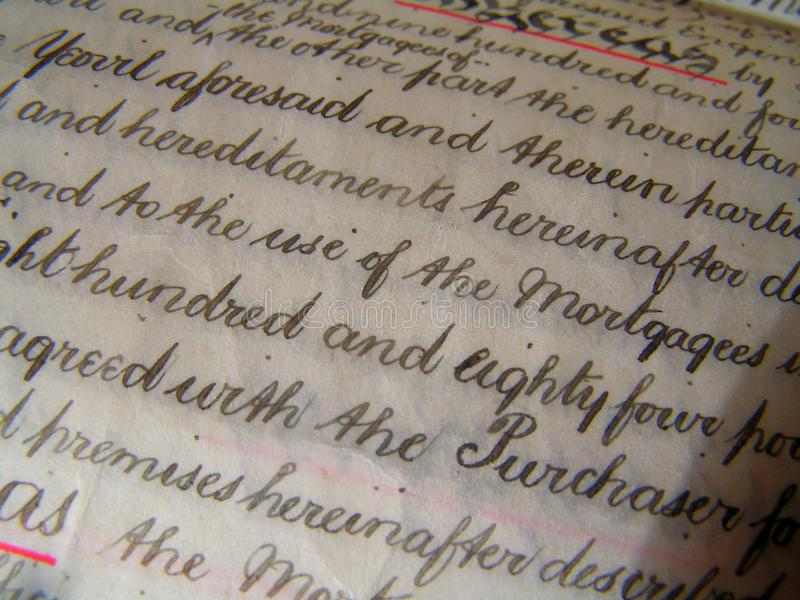 Property deed 02. Close up of handwritten title deed royalty free stock image