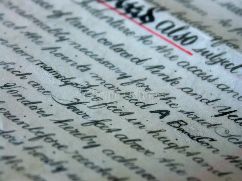 Property deed 06. Close up of handwritten title deed royalty free stock photography