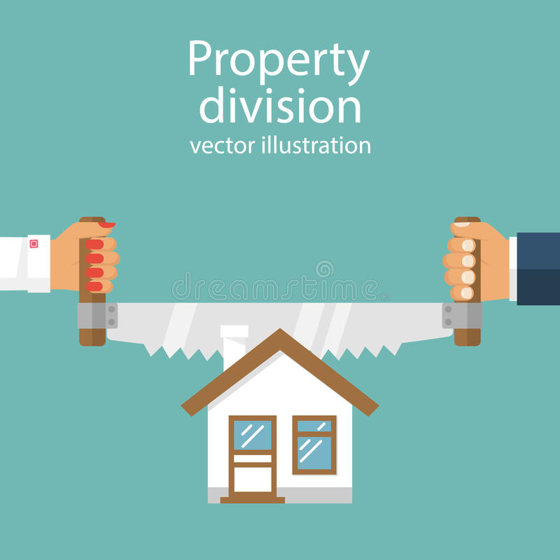 Property division. vector. Property division. End of marriage. Man and a woman holding a saw in hand cut house. The symbol of the dissolution of the marriage vector illustration