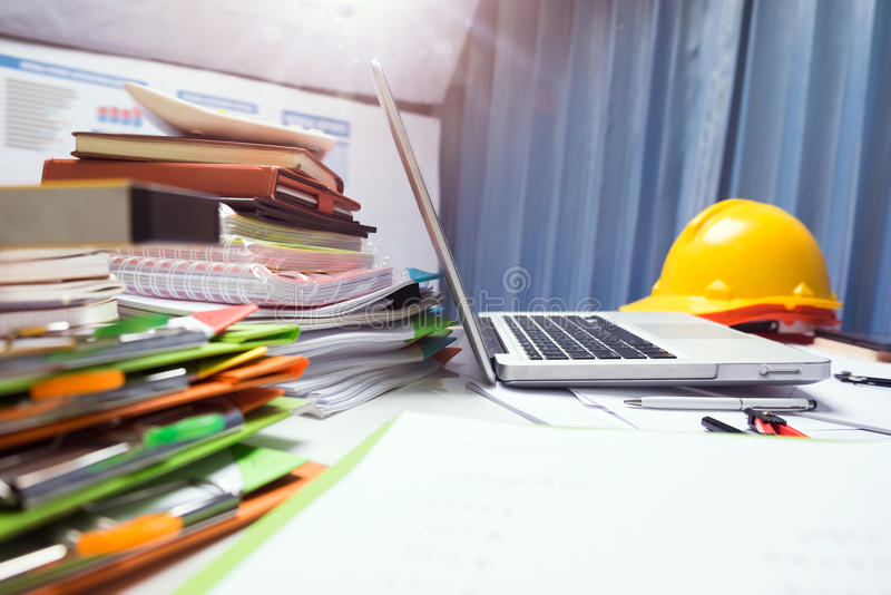 Property engineering contractor working desk tablet with wood ho royalty free stock photo