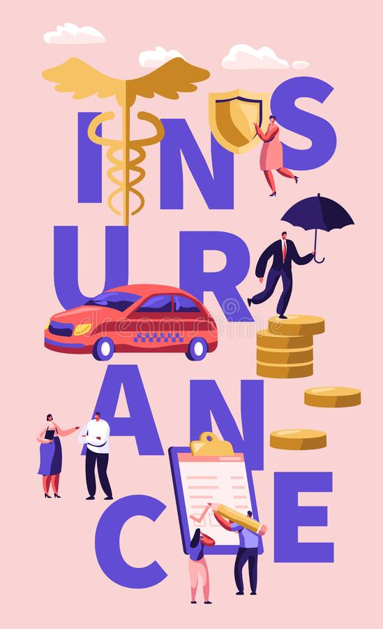 Property, Health Medical Insurance Concept. Male and Female Characters Sign Insurance Policy Paper Document. Car, Home. Life Protection Poster, Banner, Flyer royalty free illustration