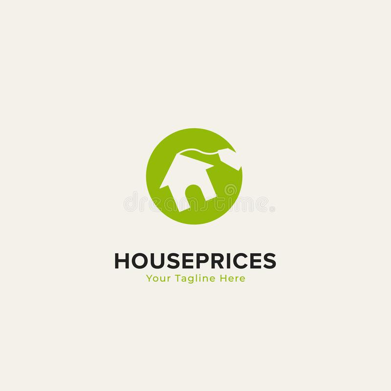 Property home house prices logo with house icon and label tag price inside green dollar round circle stock illustration