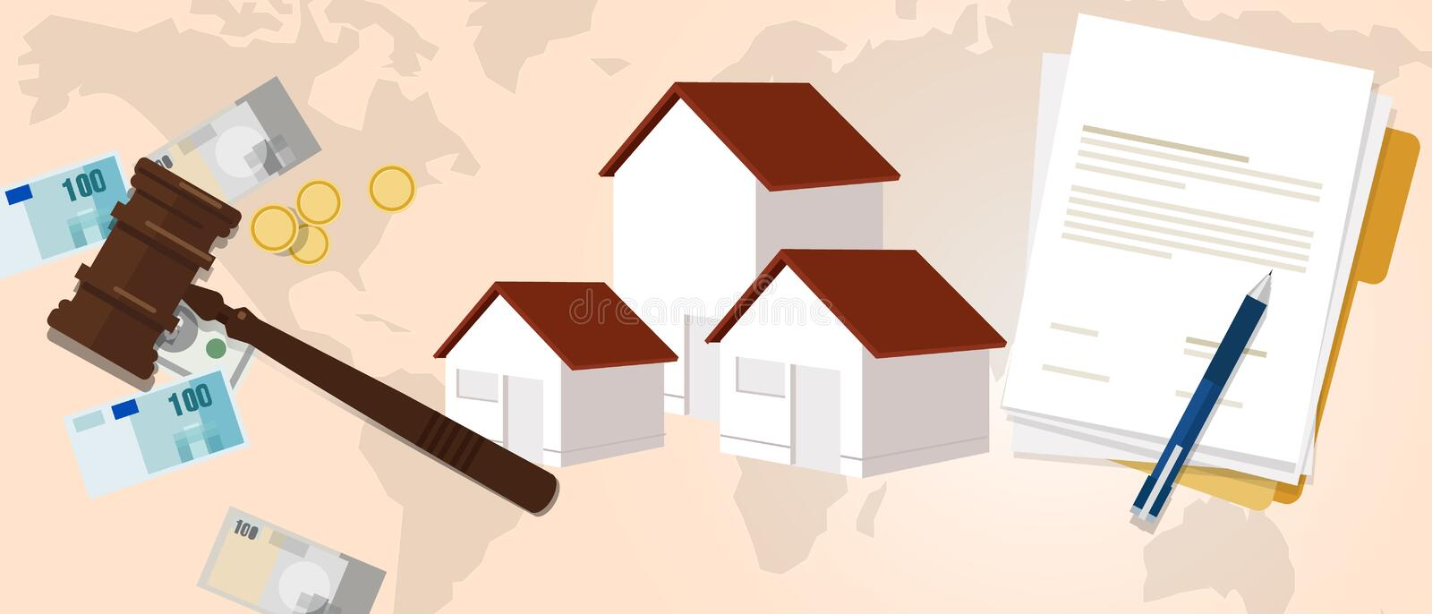 Property housing home law gavel wooden hammer justice legal judicial investment money royalty free illustration