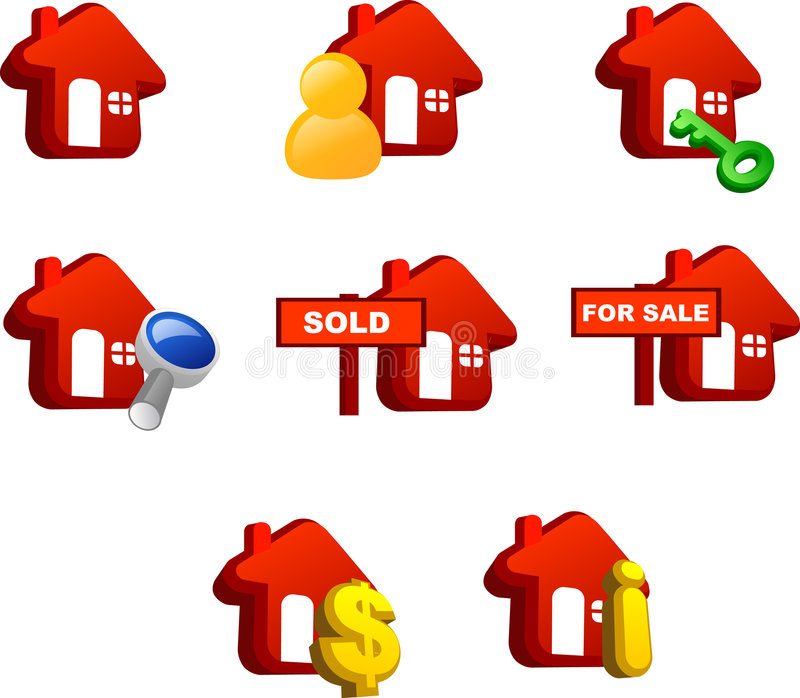 Property icon. Various icons of house (red version