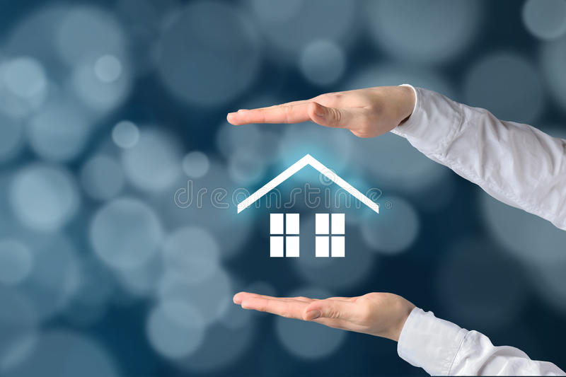 Property insurance concept. Home insurance and security concept. Protecting gesture of businessman and symbol of house and business background stock photos
