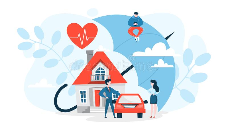 Property insurance concept. House and car standing. Under the umbrella as a metaphor of protection and safety. Finance safe. Vector illustration in cartoon vector illustration
