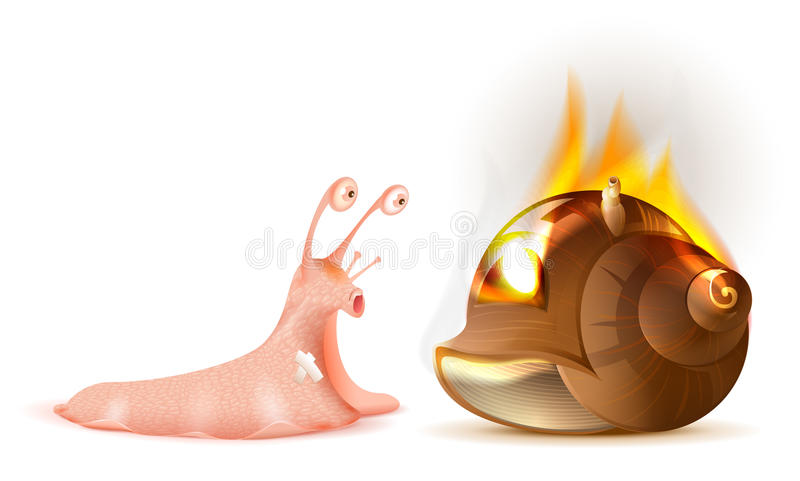 Property Insurance. Conch shell snail fire. Isolated on white vector illustration royalty free illustration