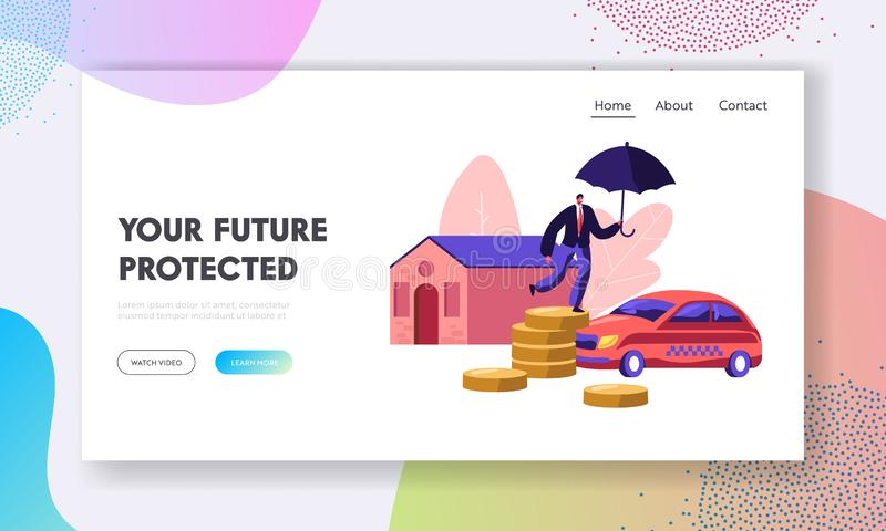 Property Insurance. Home and Car Protection. Man with Umbrella Standing on Coin Pile. Guarantee, Money and Secure in Future. Website Landing Page, Web Page vector illustration
