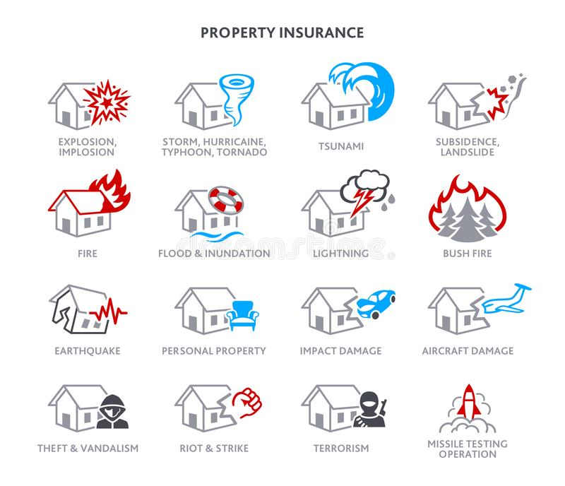 Property insurance icons vector illustration