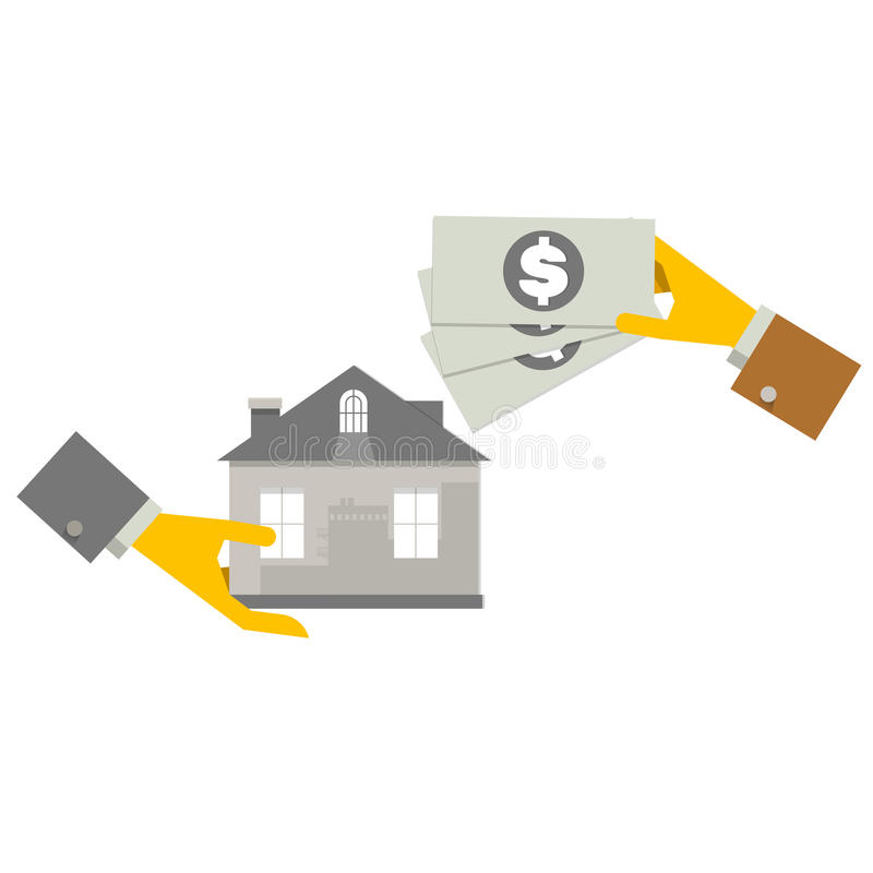 Property Investment concept. House and real estate money investment. Building placed next to coin stack. Dollar symbols stock illustration