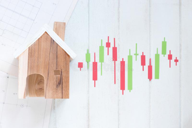 Property investment, Miniature house model with Candlestick chart make from color paper Green and red, financial concept. Financial concept stock image