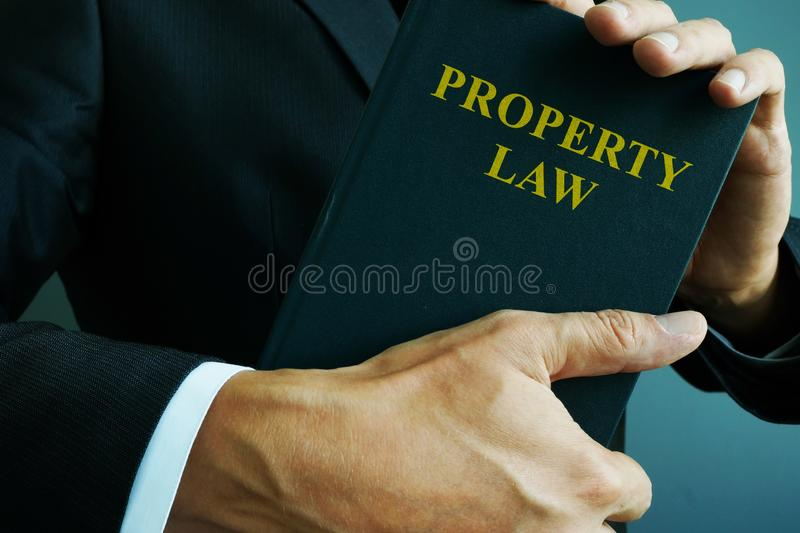 Property law in the hands of a lawyer stock photo