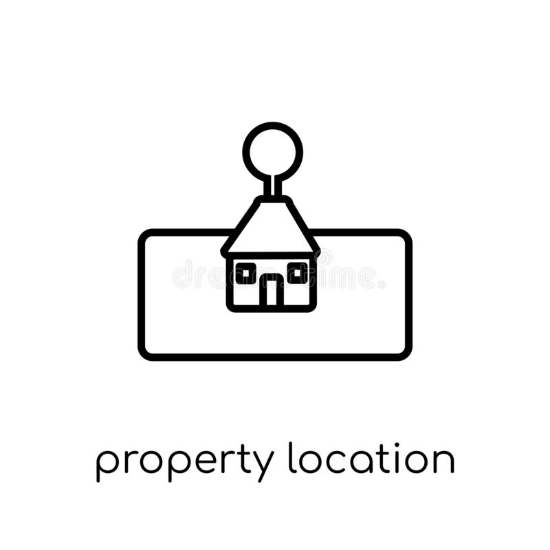 property location icon. Trendy modern flat linear vector property location icon on white background from thin line Maps and stock illustration