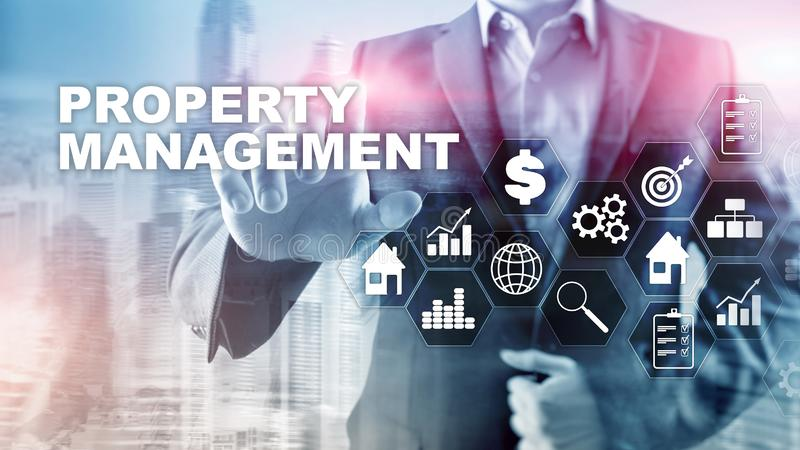 Property management. Business, Technology, Internet and network concept. Abstract Blurred Background. royalty free illustration