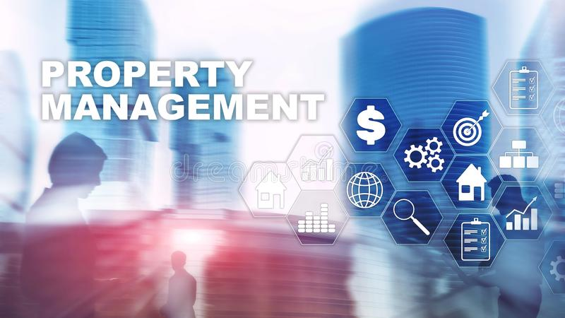 Property management. Business, Technology, Internet and network concept. Abstract Blurred Background. royalty free stock photography