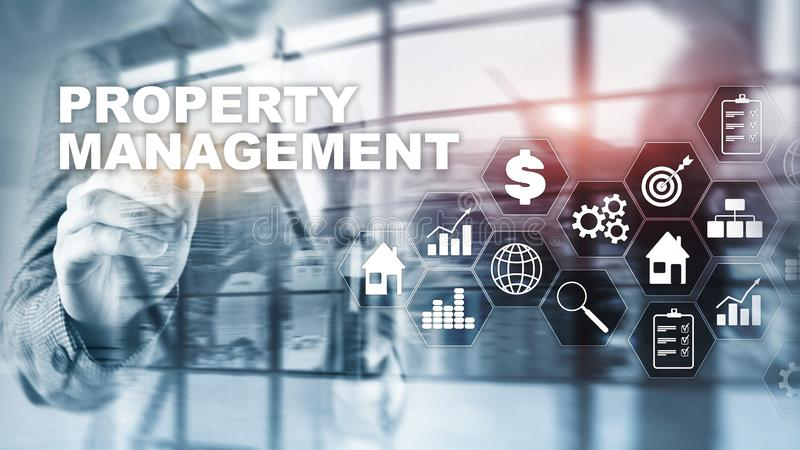 Property management. Business, Technology, Internet and network concept. Abstract Blurred Background. vector illustration