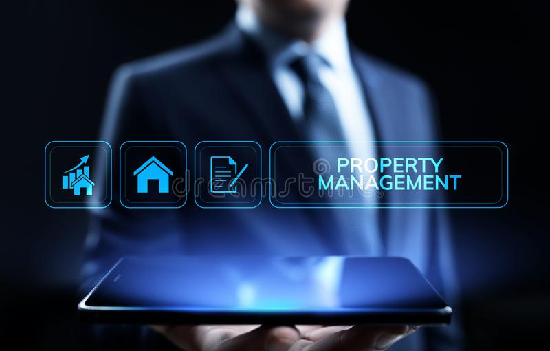 Property management Is the operation, control, and oversight of real estate. Business concept. royalty free stock photos