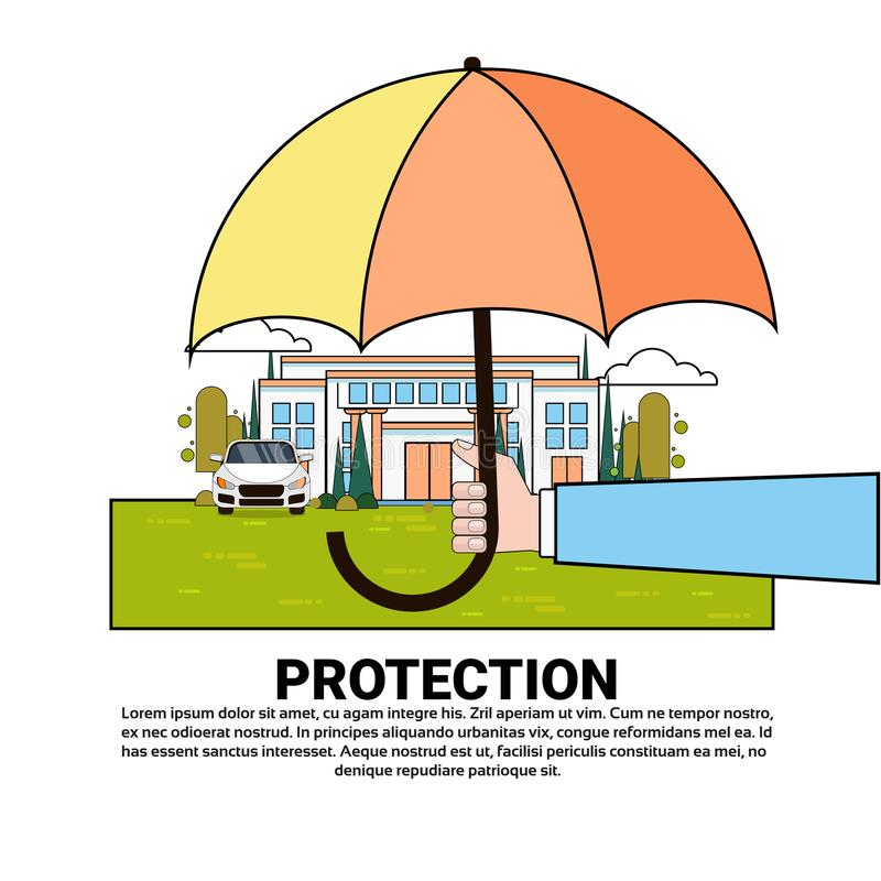 Property Protection Insurance Services Banner With Umbrella Over Real Estate And Car. Vector Illustration royalty free illustration