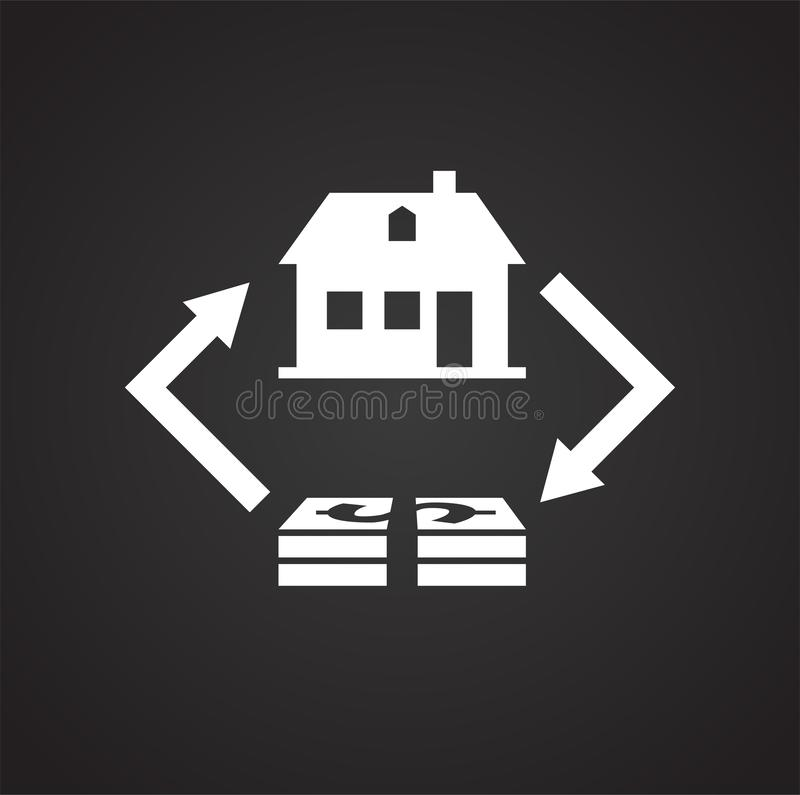 Property real estate buy sell on black background royalty free illustration