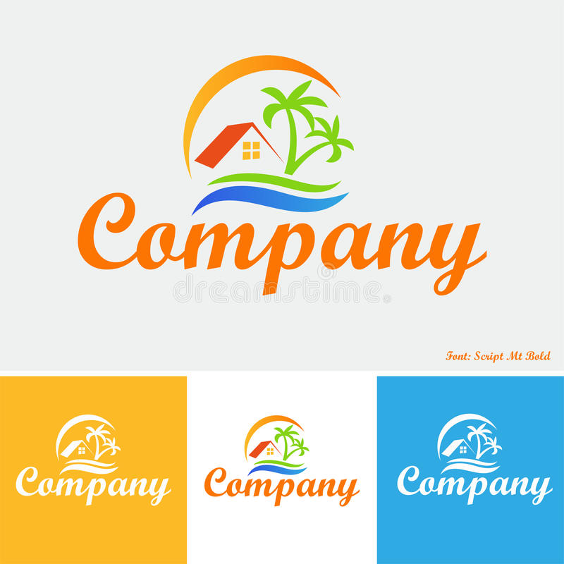 Property in the tropics logo stock illustration