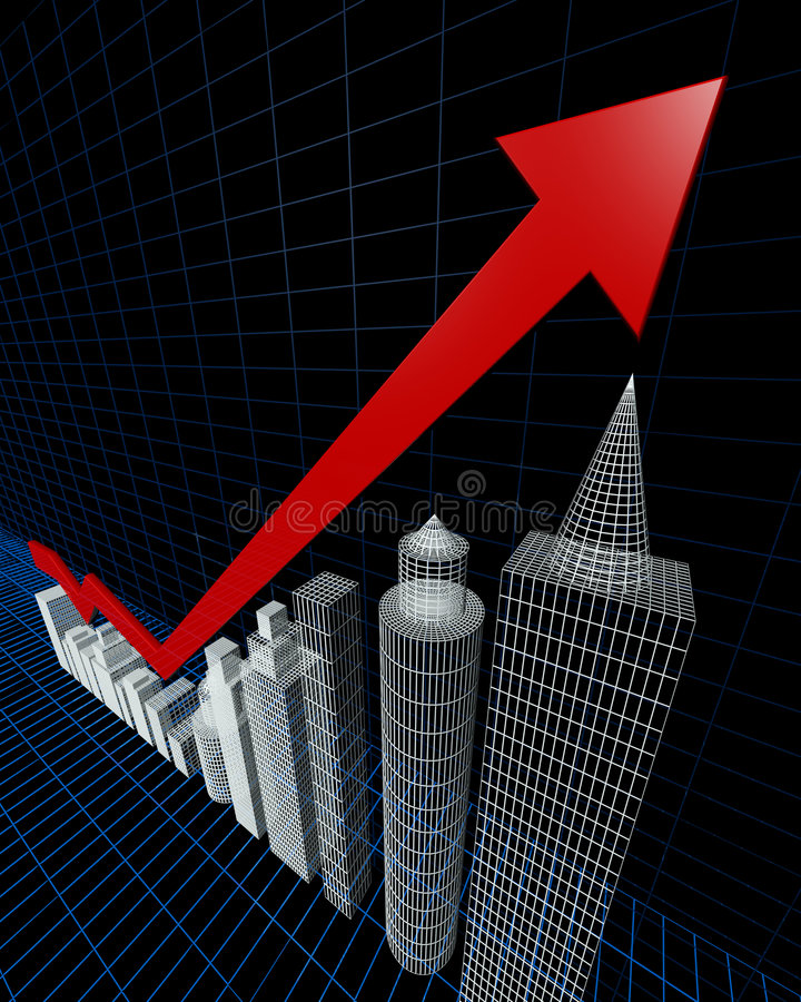 Property valuation chart arrow pointing up stock illustration