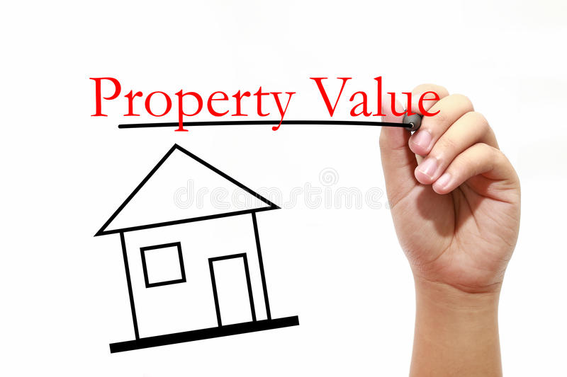 Property Value - House with text and male hand with pen. House with text and male hand with pen royalty free stock photos