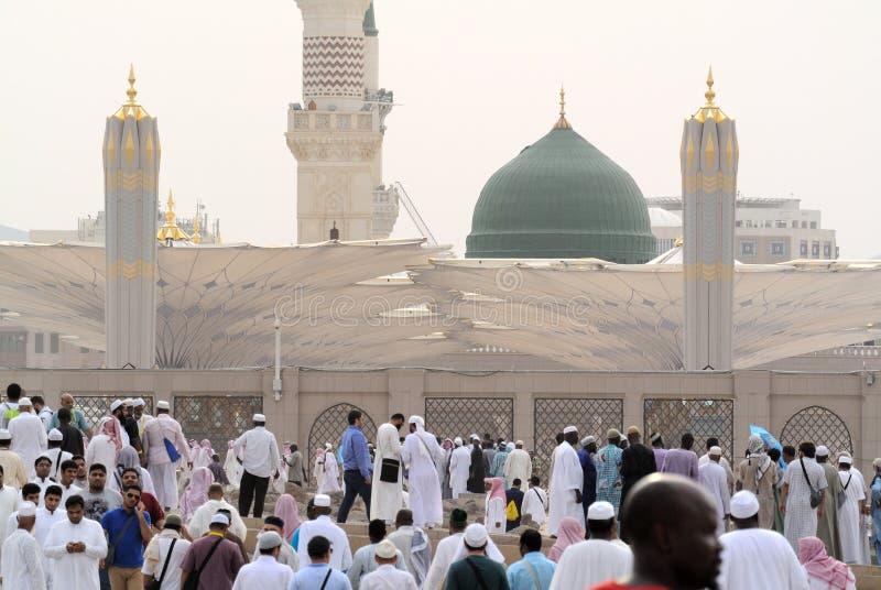 Prophet'smoskee in Medina Saudi-Arabië royalty-vrije stock afbeeldingen