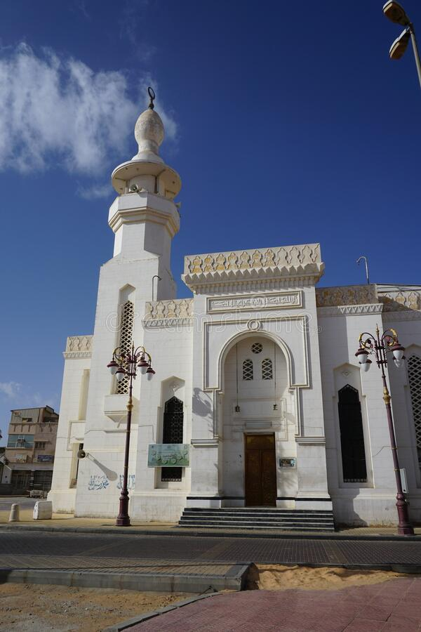 Prophet Mosque Masjid i Taubah, Tabuk, Saudiarabien royaltyfri bild