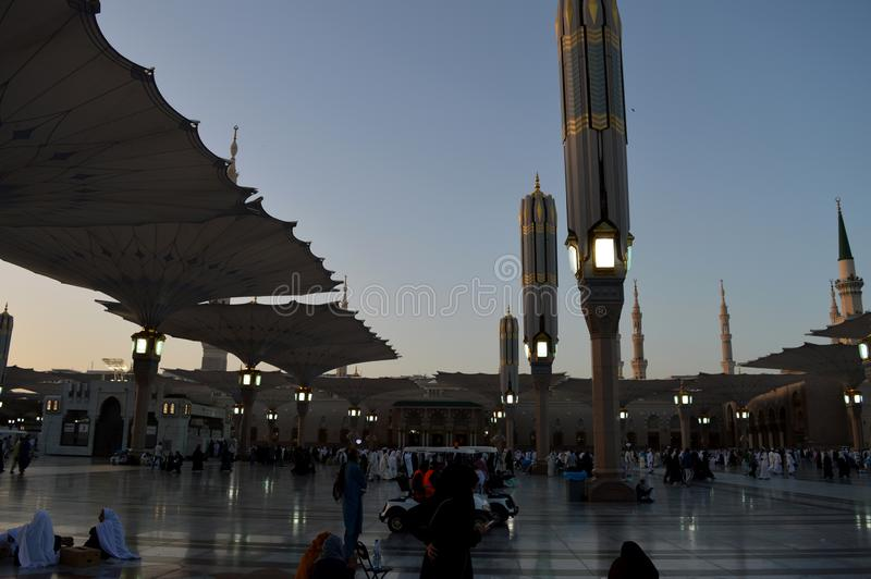 Prophet Muhammad Mosque In Madinah. Al-Masjid An-Nabavi. Great Islamic mosque in Saudia Arabia. royalty free stock photos