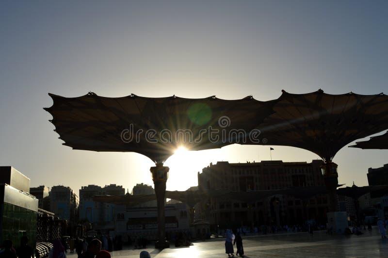 Prophet Muhammad Mosque In Madinah Al-Masjid An-Nabavi Gro?e islamische Moschee in Saudia Arabien stockbilder