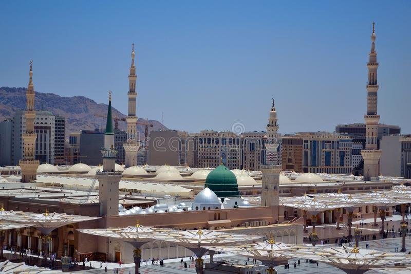 Prophet's Mosque green dome stock images