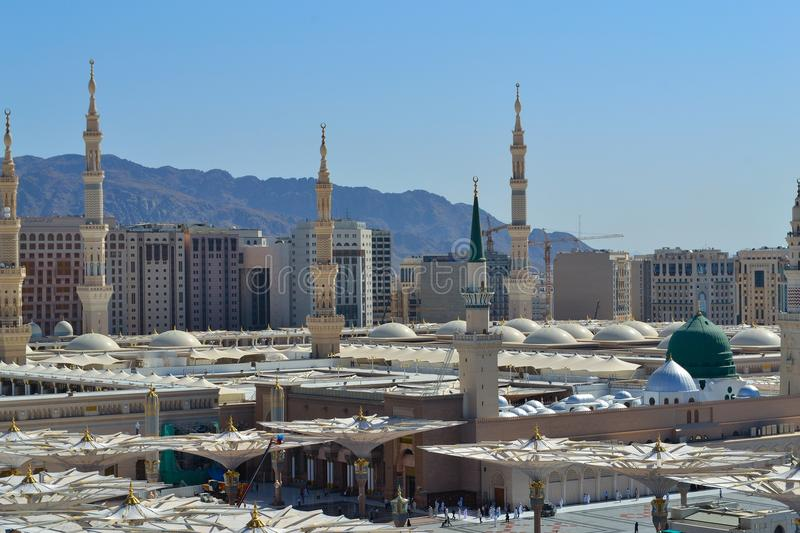 Prophet's Mosque in Medina close up royalty free stock image