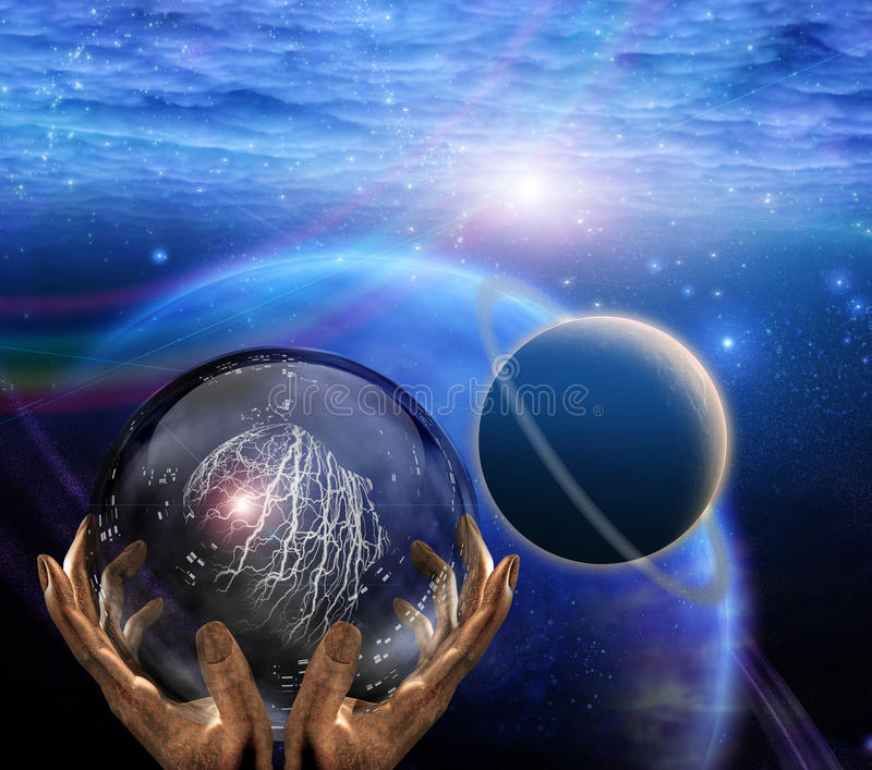 Prophet. Surreal painting. Crystal ball in prophet hands. Deep space stock illustration