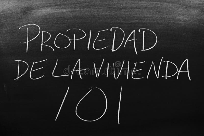 Propiedad De La Vivienda 101 su una lavagna fotografie stock