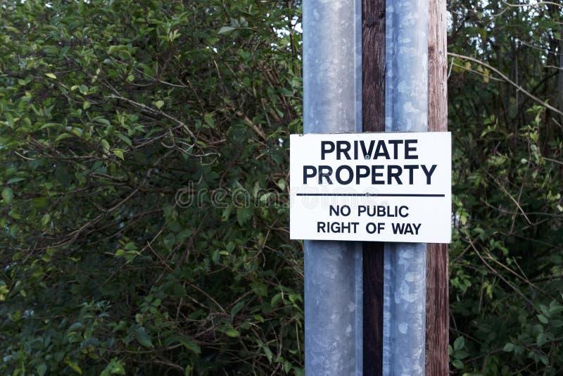 Propiedad privada ninguna muestra pública del derecho de paso fotos de archivo libres de regalías