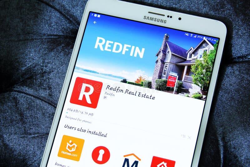Propiedades inmobiliarias app de los Redfin fotografía de archivo
