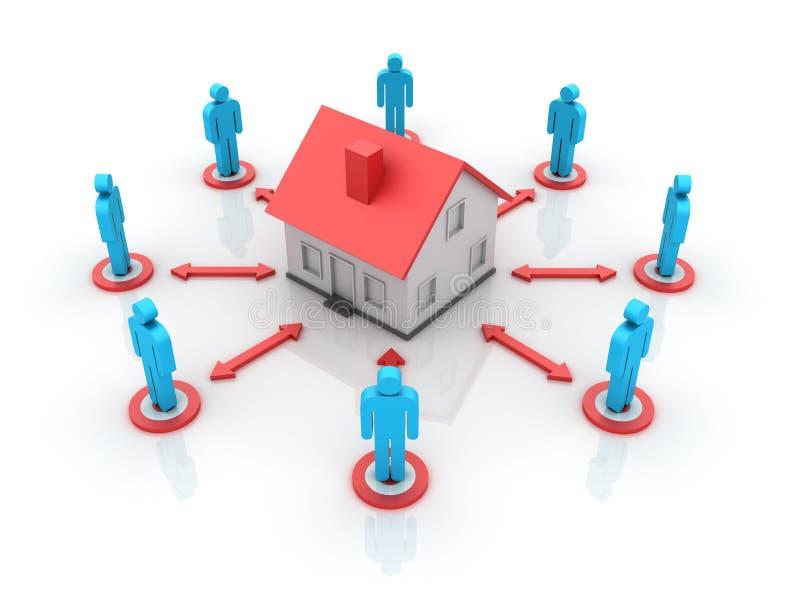 Propiedades inmobiliarias - casa con la gente stock de ilustración