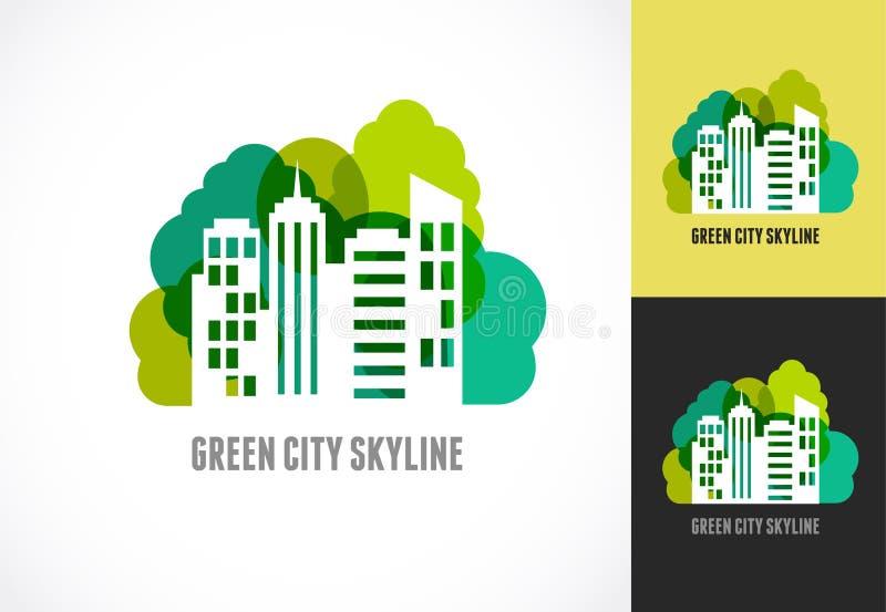 Propiedades inmobiliarias, ciudad e icono coloridos del horizonte stock de ilustración