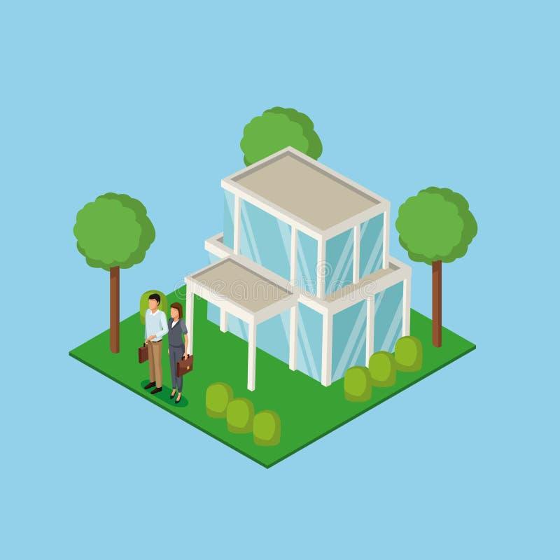 Propiedades inmobiliarias 3d de los pares del negocio ilustración del vector