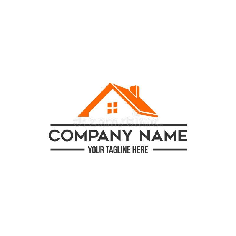 Propiedades inmobiliarias de la casa del tejado, logotipos de la construcción ilustración del vector