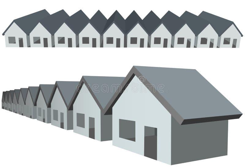 Propiedades inmobiliarias de la construcción de las propiedades horizontales de las casas de fila ilustración del vector
