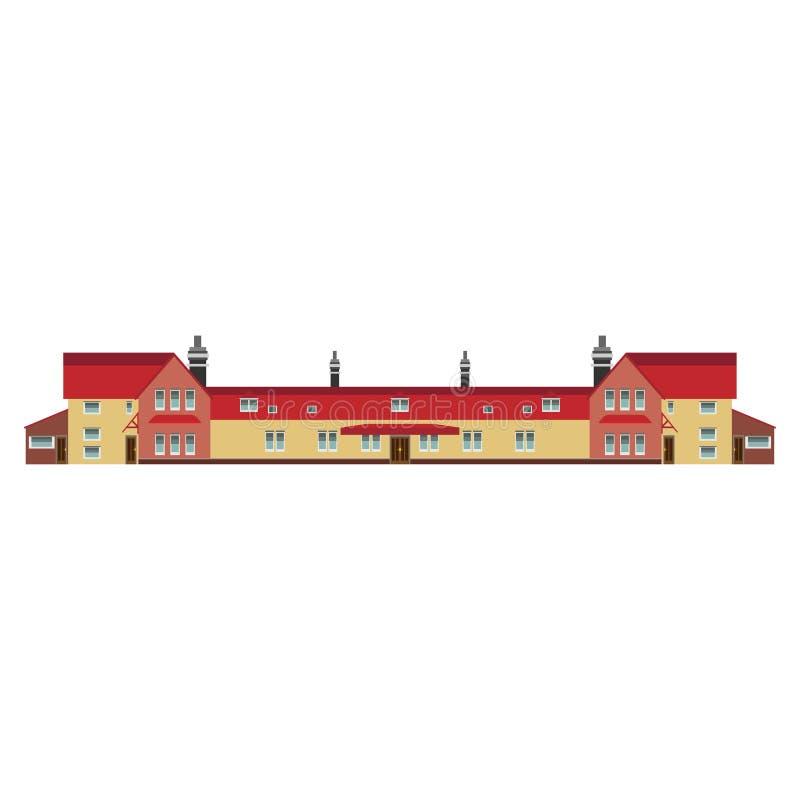 Propiedades inmobiliarias de la estructura del vector del concepto del edificio del edificio de apartamentos Exterior de lujo de  ilustración del vector