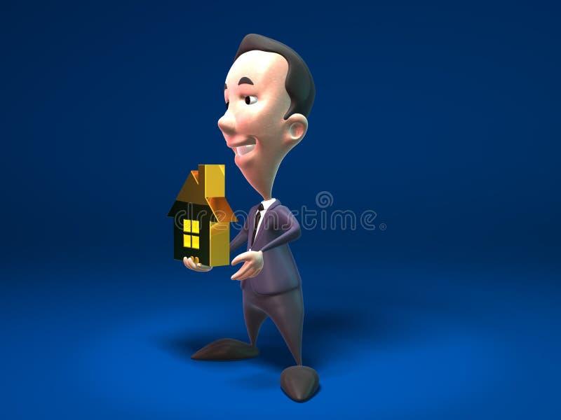 Propiedades inmobiliarias de las ventas del hombre de negocios libre illustration