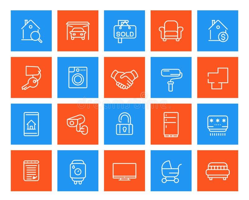 Propiedades inmobiliarias, hogar, apartamentos para el alquiler, iconos de la venta ilustración del vector