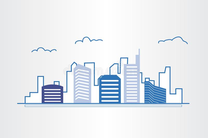 Propiedades inmobiliarias modernas del diseño arquitectónico del edificio ilustración del vector