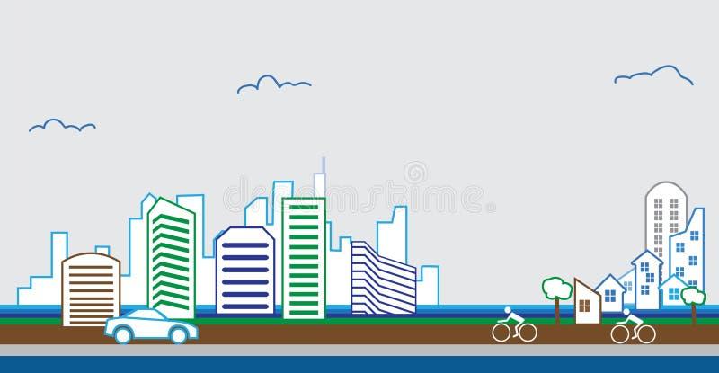 Propiedades inmobiliarias modernas del diseño arquitectónico del edificio libre illustration