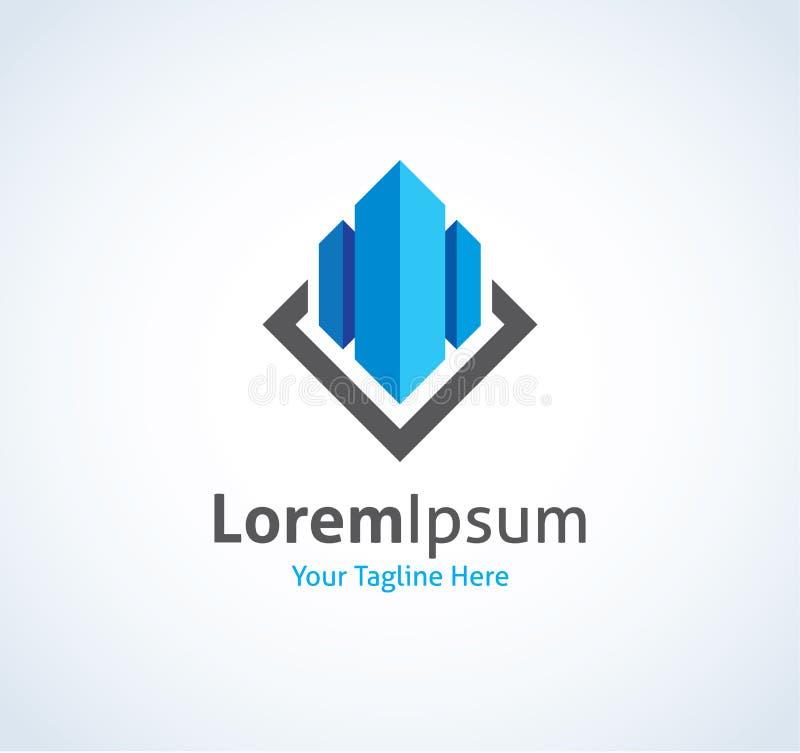 Propiedades inmobiliarias que construyen la empresa de negocios del CEO en el icono de cristal del logotipo libre illustration