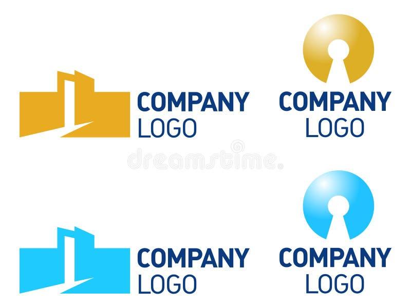 Propiedades inmobiliarias, reveladores, insignia de la configuración stock de ilustración