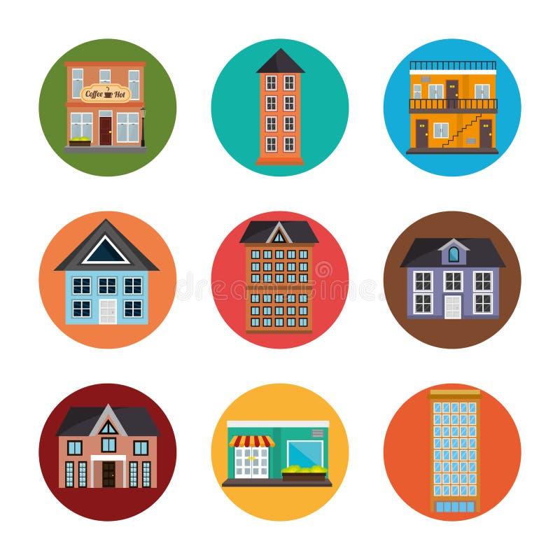 Propiedades inmobiliarias urbanas ilustración del vector