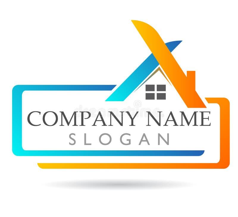 Propiedades inmobiliarias y hogar creativos, logotipo colorido en el fondo blanco Negocios stock de ilustración